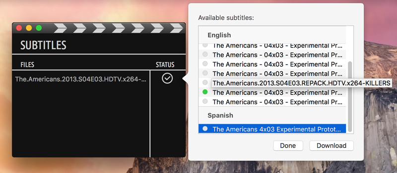 Subtitles for Mac & Windows · Downloading subtitles in multiple